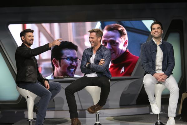 Karl Urban, Chris Pine and Zachary Quinto attend the Star Trek Beyond Fan Event at Paramount Pictures Studios in on May 20, 2016 in Hollywood, California. (Photo: Alex J. Berliner/ABImages)