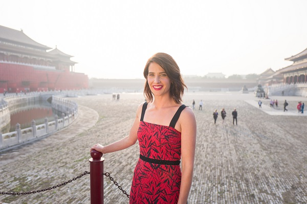 """BEIJING, CHINA - OCTOBER 11: Cobie Smulders visits the Forbidden City during the promotional tour of the Paramount Pictures title """"Jack Reacher: Never Go Back"""", on October 11, 2016 in Beijing, China. (Photo by Lucian Capellaro for Paramount Pictures) *** Local Caption *** Cobie Smulders"""