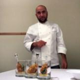 Umberto di Martino - Cosciotto di quaglia con cuore di fegato grasso e cioccolata, croccante di nocciola e grissini, purea di mela