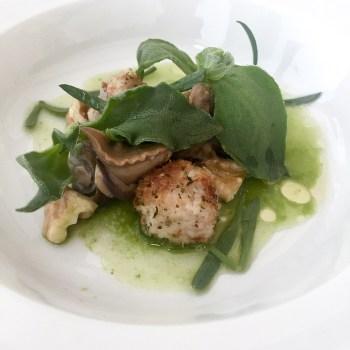 Zuppa di levistico e lattuga, noci fresche, finocchio marino, rane e lumanche