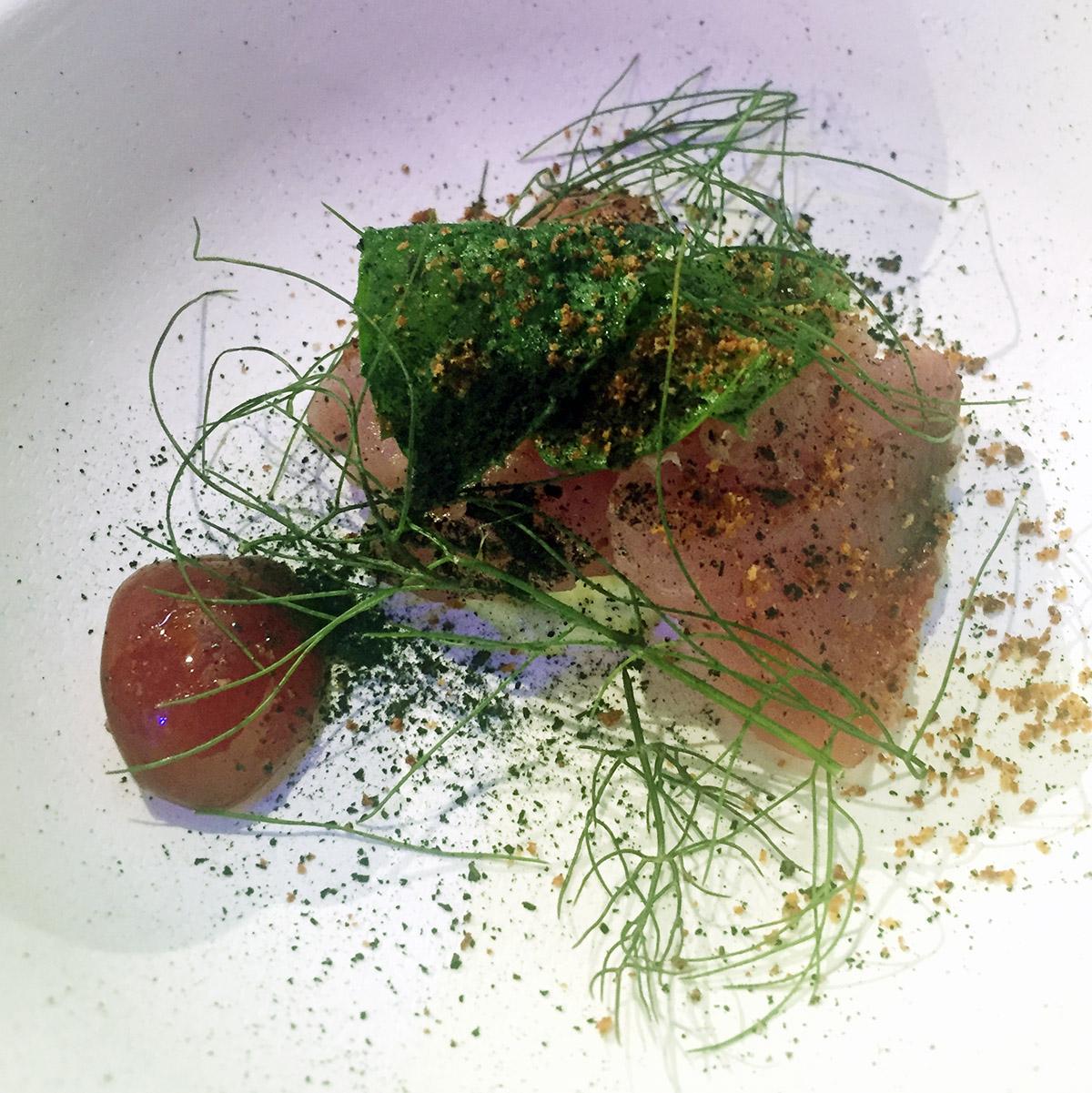 Simone Tondo - Tonno bianco, ciliegie, salicornia, salvia bruciata