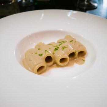 Rigatone, poppa, pepe e lime