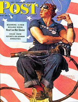 "Rockwell's ""Rosie the Riveter"" became a WWII & women's rights icon. The original painting sold for .95million in 2002."
