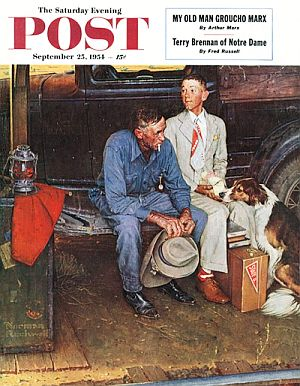 "Rockwell's ""Breaking Home Ties,"" SEP cover art of Sept 25, 1954, depicts father and son sitting on automobile running board as son departs for college, sold for 15.4 million dollars at Sotheby's auction in 2006."