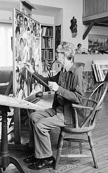 "Rockwell at work on ""Golden Rule,"" 1960."