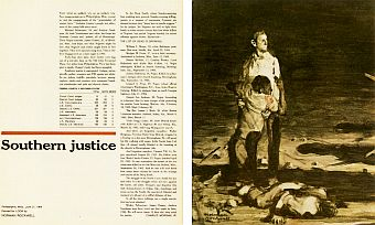 Norman Rockwell's rough study sketch of beaten civil rights workers as it ran with article in Look magazine, June 29, 1965.