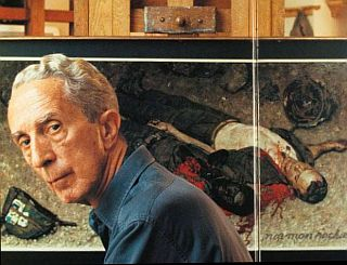 "Norman Rockwell, 1968, in front of easel with his ""Blood Brothers"" painting as shown in photograph from Ben Sonder book, ""The Legacy of Norman Rockwell."""
