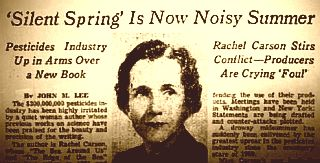 Photo of New York Times article in 1962. Chemical companies spent $500,000 to slam Rachel Carson's book, Silent Spring, and Carson herself