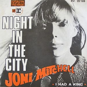 "1968 French release of 45rpm single of Joni Mitchell's ""Night in the City"" on Reprise, with"
