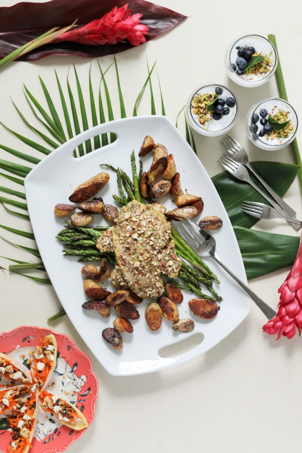 Almond crusted mediterranean tilapia or mushroom caps, carrot and date endive boats, and coconut cardamom rose chia pudding. An easy 3 course meal, perfect for Mother's Day | POP KITCHEN
