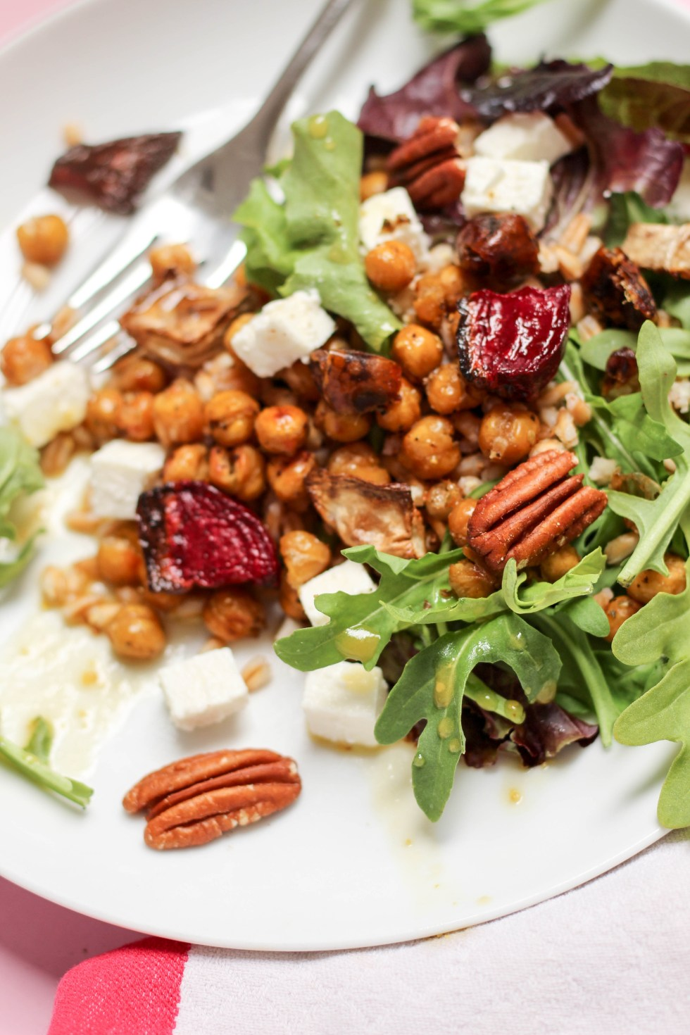 Hearty Farro and Beet Salad with roasted turnips and beets, crispy chickpeas, feta, chopped dates, and arugula // POP KITCHEN