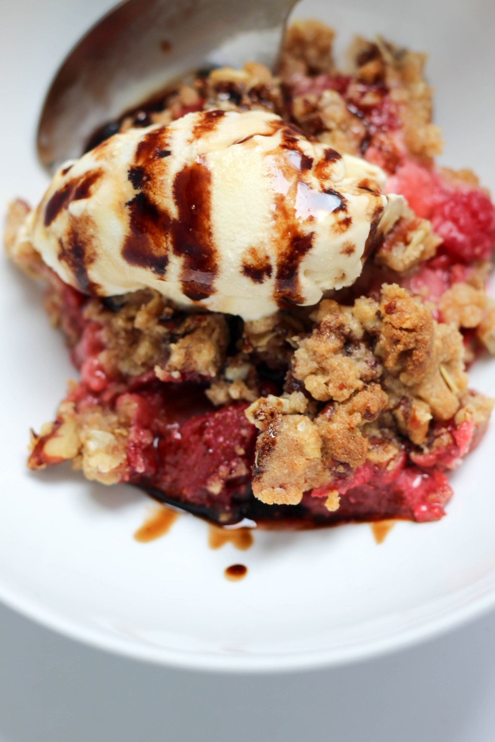 Strawberry goat cheese crumble with basil infused balsamic reduction // POP KITCHEN