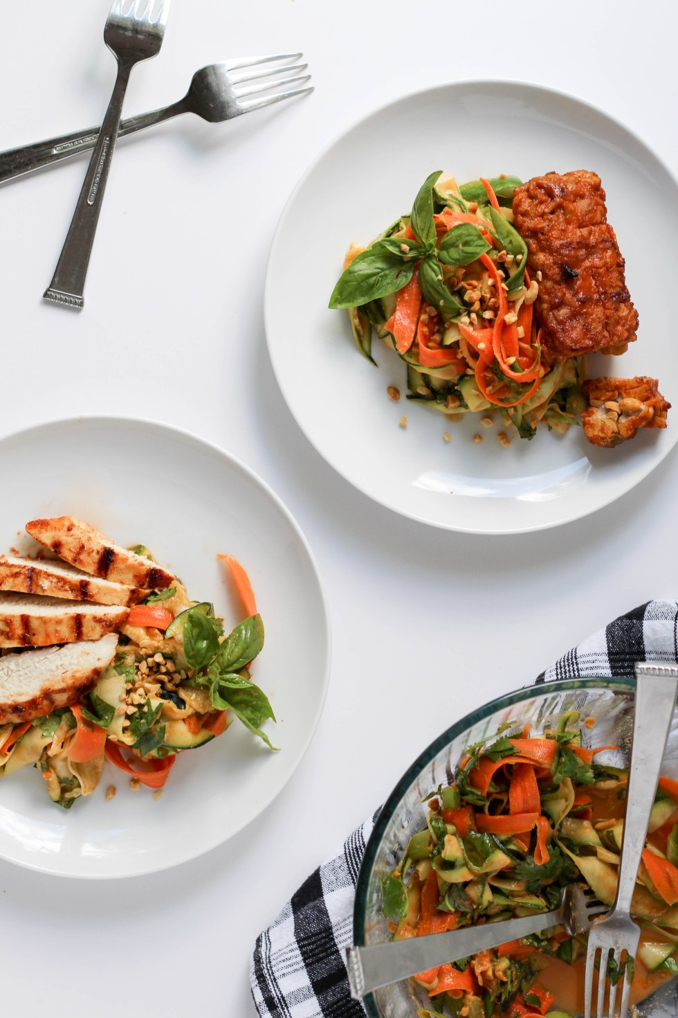zucchini pad thai with grilled chicken of tempeh // POP KITCHEN