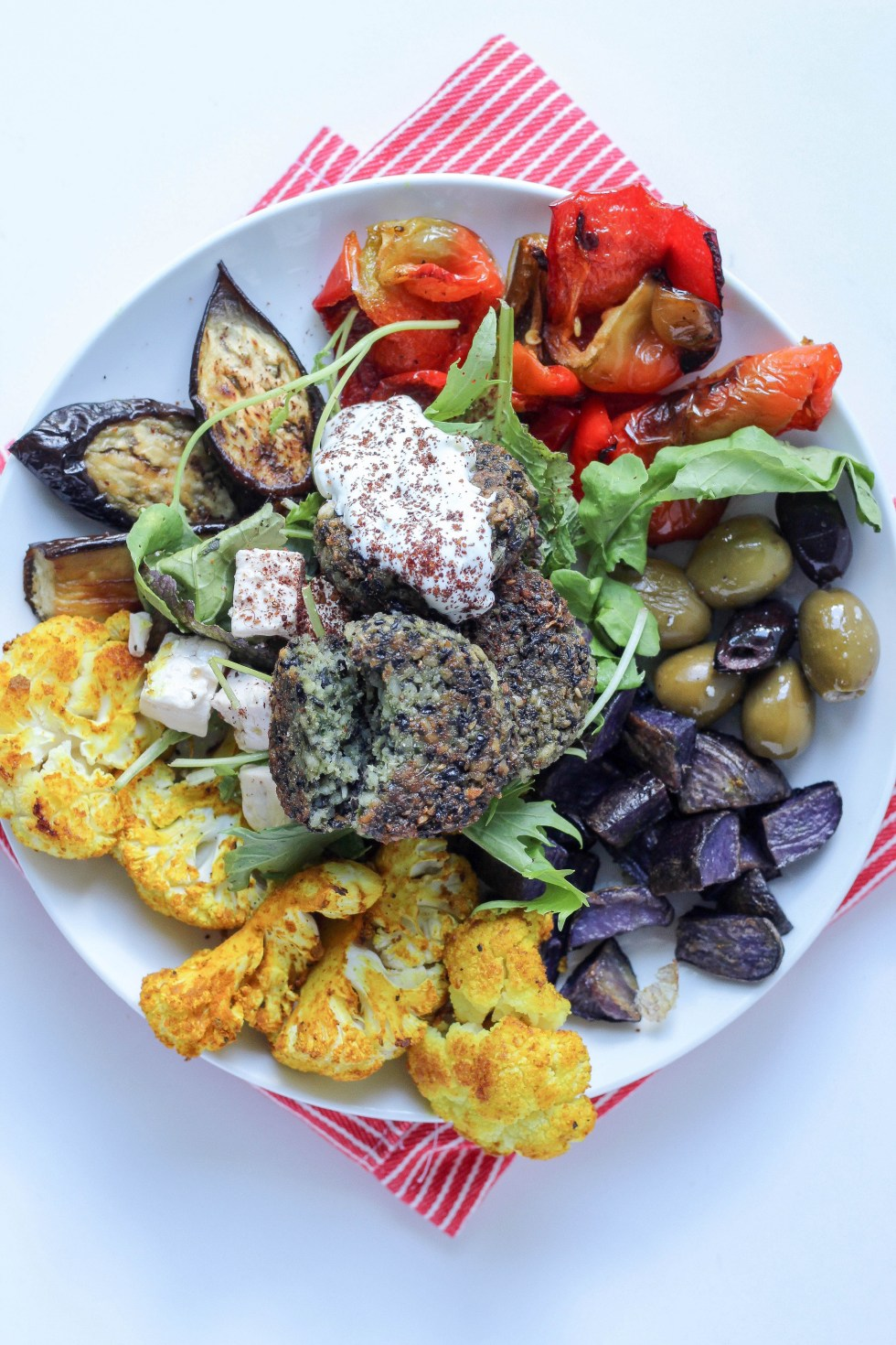 Grain free black bean falafel bowls with turmeric roasted cauliflower and purple potatoes // POP KITCHEN