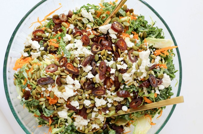 Shaved brussels sprout salad with butternut squash, champagne vinaigrette, feta dates, and pepitas // POP KITCHEN
