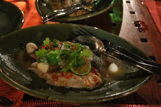 Steamed sea bass with garlic