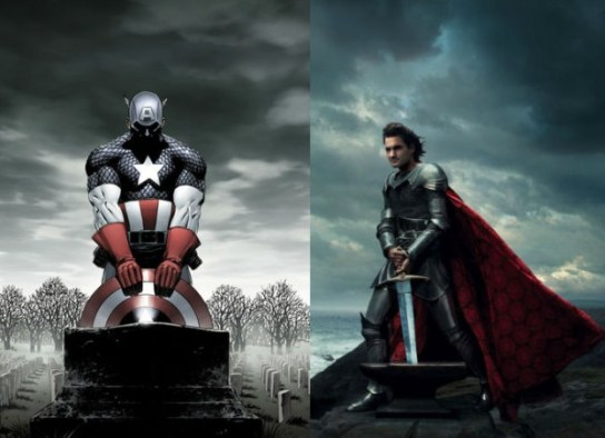"image left: Marvel Comics / image right: Annie Leibovitz, ""Disney Dream Portraits"""