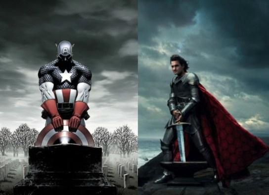 "image left: Marvel Comics / image right: Annie Leibovitz, ""Disney Dream Portraits"""