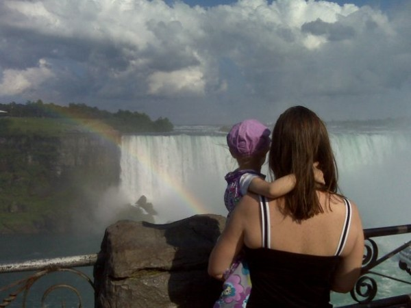 Helena and her mother, Sarah Kirk Calderwood, in a visit to Niagara Falls while Helena was receiving chemotherapy (courtesy of John and Sarah Kirk).