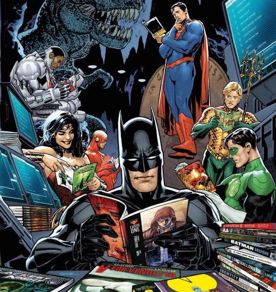 Joyeux Anniversaire DC-Earth - les 6 ans ! Justice-league-batman-superman-reading-comics-2