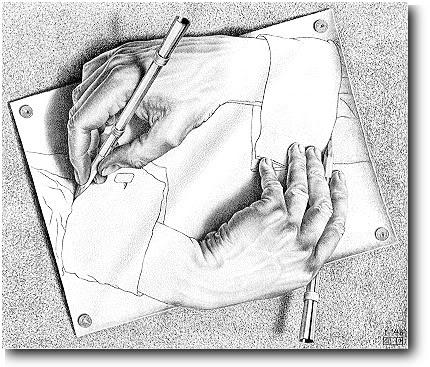 """""""Drawing Hands"""", M.C. Escher via Wikipedia"""