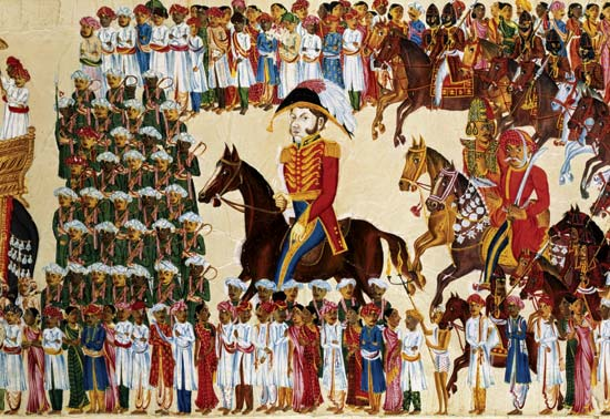 Official of the East India Company riding in an Indian procession, watercolour on paper, c. 1825–30 (Victoria and Alberta Museum/Britanica.com)