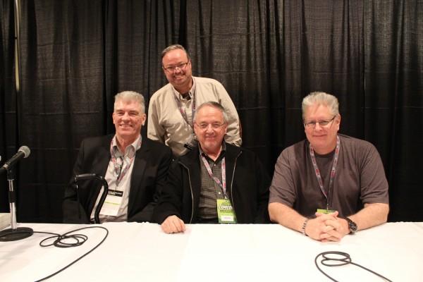 From left: Jim Shooter, panel moderator John K. Kirk