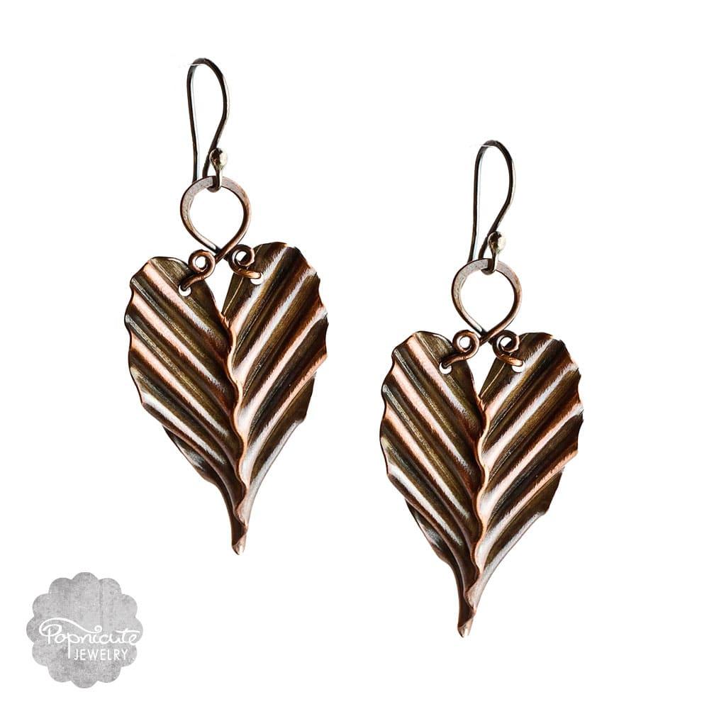 Copper Leaf Earrings, Artistic, Handmade, Unique
