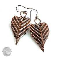 Copper Leaf Earrings, Artistic, Handmade, Unique ...