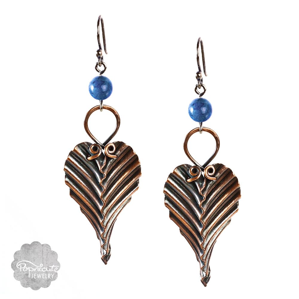 Handmade Copper Leaf Earrings with Lapis Lazuli