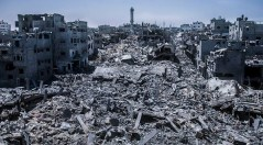 Quartiere raso al suolo a Gaza City.