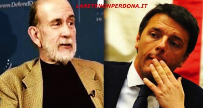 A sinistra, la mente militare e di estrema destra di tutti i governi Usa dal 1974 a oggi. A destra, il presidente del Consiglio Matteo Renzi.