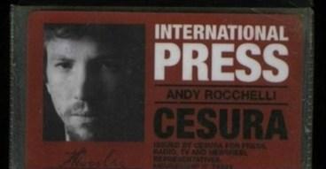 La tessera stampa di Andrea Rocchelli, morto in Ucraina il 24 maggio 2014.