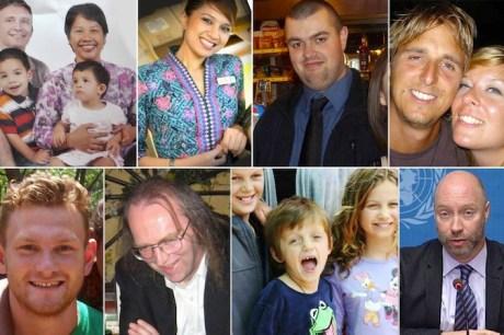 Alcuni dei passeggeri abbattuti con l'aereo. Da sinistra in alto: la famiglia olandese composta da John Paulissen (47 anni), Yuli Hastini (44) e i loro due figli, Martin Arjuna Paulissen (5) e Sri Paulissen (3); la malese Angeline Premila (30); l'inglese Liam Sweeney (28); gli olandesi Cor Pan (34) e Neeltje Tol (29); l'inglese Richard Mayne (27); l'inglese John Alder (60); i fratelli australiani Mo (12), Otis (8) ed Evie (10) Maslin; l'inglese Glenn Thomas (49).