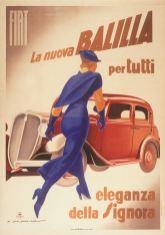 Marcello Dudovich (Trieste 1878 - Milano 1962) Officine I.G.A.P., Milano-Roma Fiat. La Nuova Balilla, 1934 stampa litografica a colori su carta Massimo and Sonia Cirulli Archive, New York