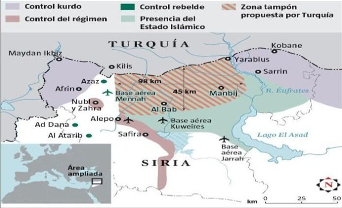La frontiera contesa tra Turchia e Siria. Fonte: Institute for the study of war