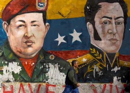 murales del presidente Chavez e Simon Bolivar