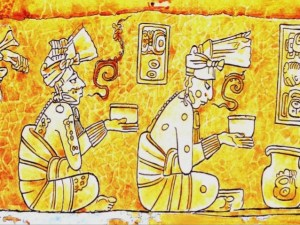 Fresco depicting scene from Popol Vuh