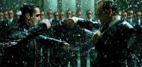 Neo vs. Agent Smith in The Matrix Revolutions