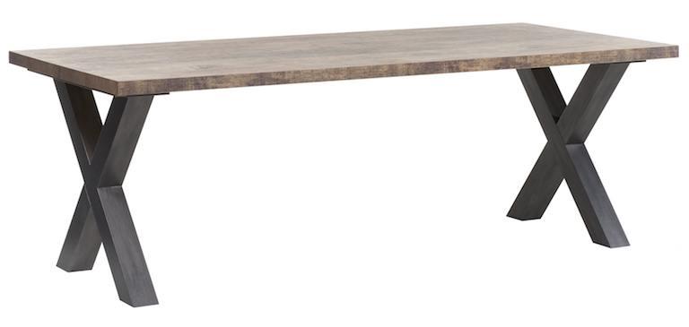 Eetkamertafel met stalen kruispoot Veenendaal 160 cm