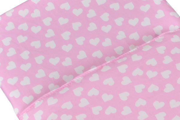 Dekjes Poppendekentje licht roze wit hartje  Poppenwagennl