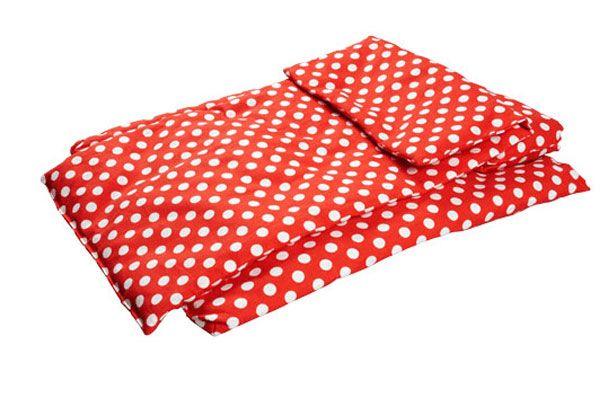 Goki Deken rood met witte stippen  Poppenwagennl