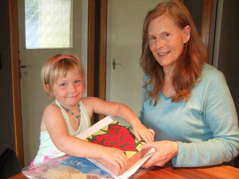 Giving GranJan her present