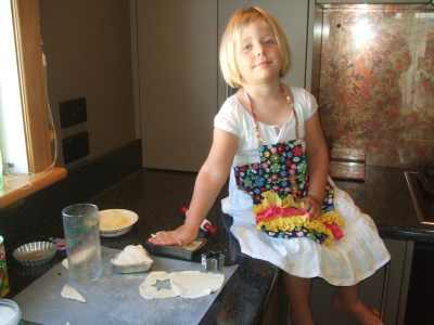 Baking with her birthday gifts