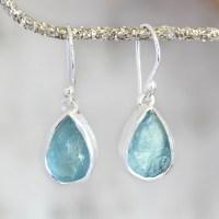 Ladies Designer Aquamarine Gemstone Silver Earrings ...