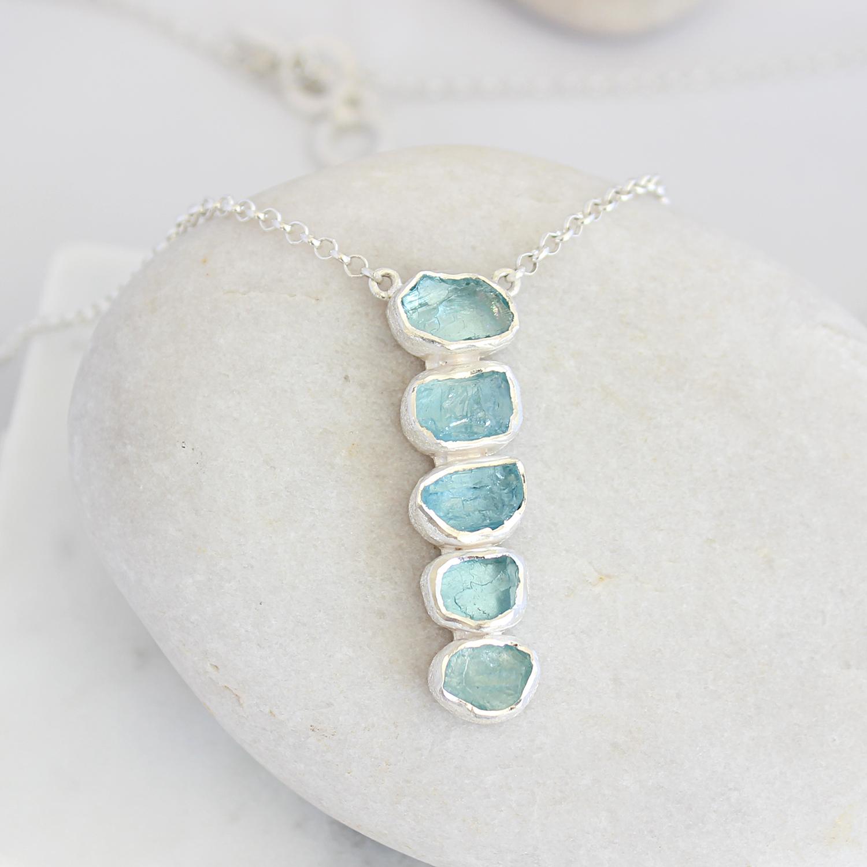 Aquamarine Gemstone Handmade Long Length Sterling Silver