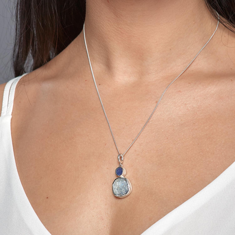Moonstone And Tanzanite Handmade Ladies Silver Pendant  Poppy Jewellery