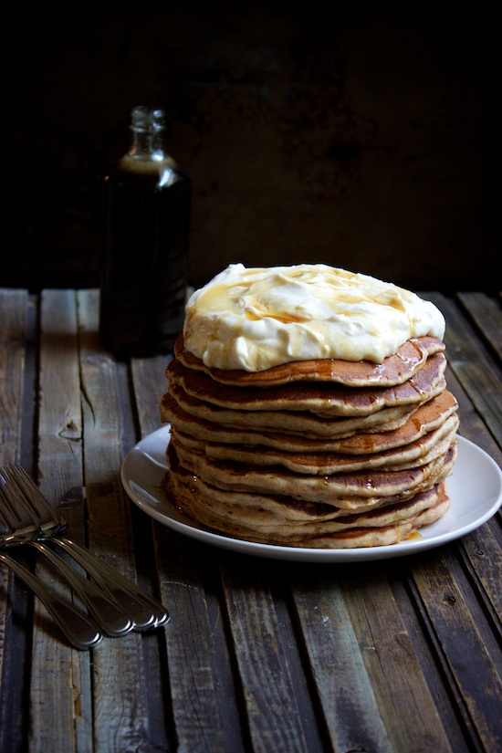 Carrot cake pancake stack, with whipped cream cheese topping