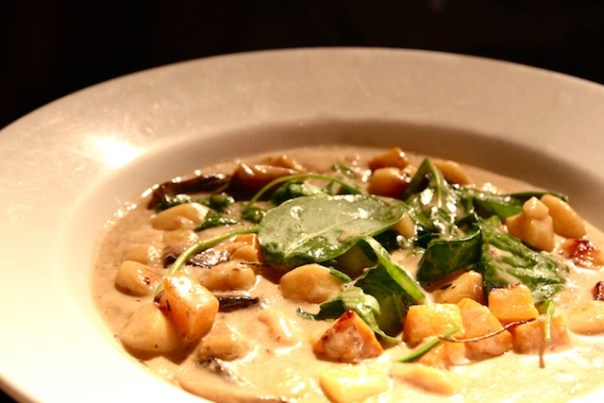 gnocchi with wild mushrooms, roasted squash, spinach & cannellini beans