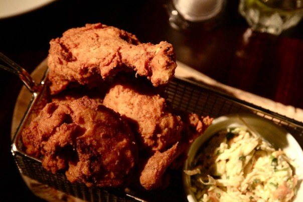 Southern fried chicken with fries, apple slaw & a house pickle dip